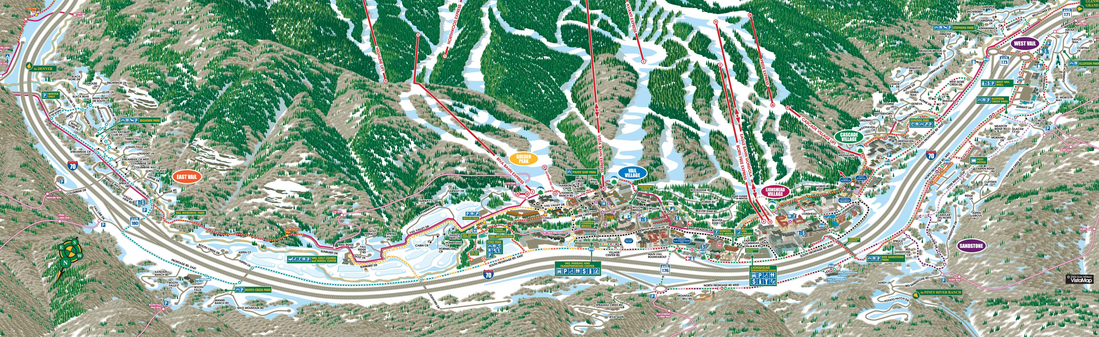 vail town map (   mb). vail piste maps and ski resort map  powderbeds