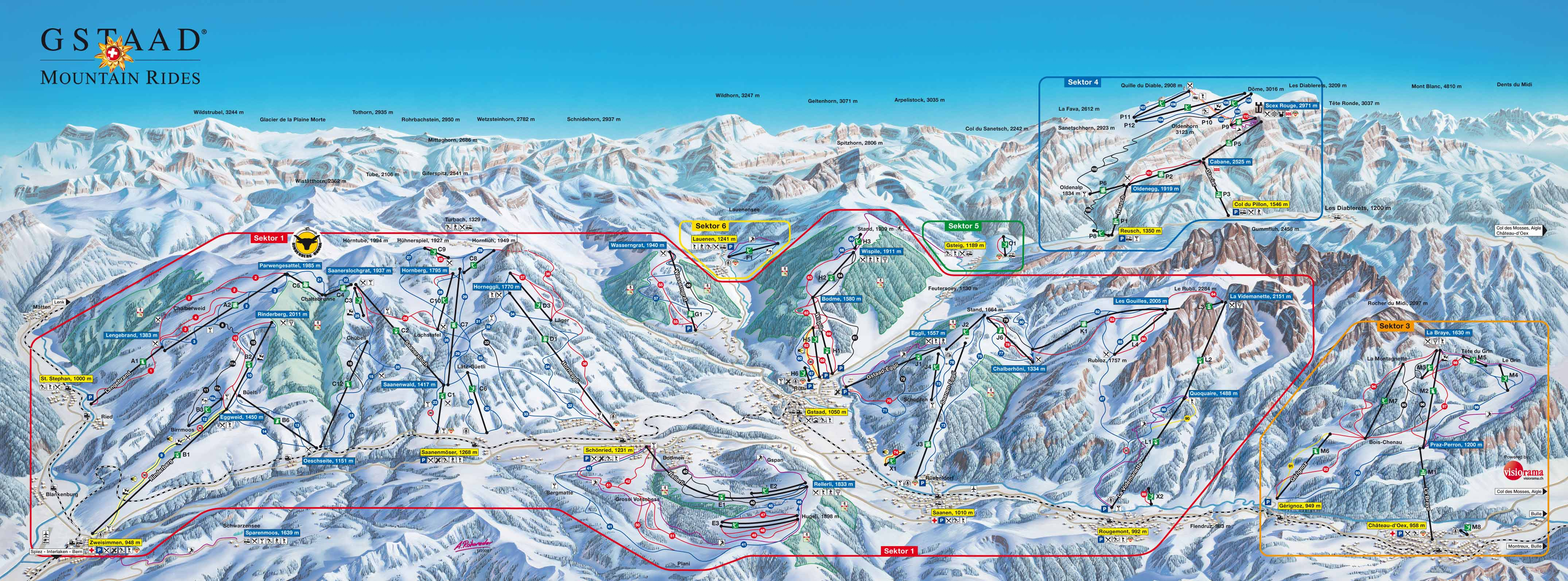 Gstaad Piste Maps and Ski Resort Map PowderBeds