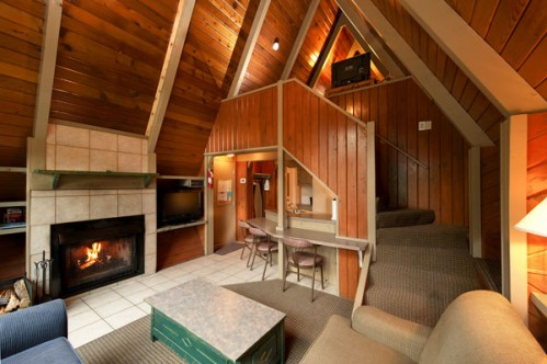 Example of the living area's at the A-Frame Chalets - Banff