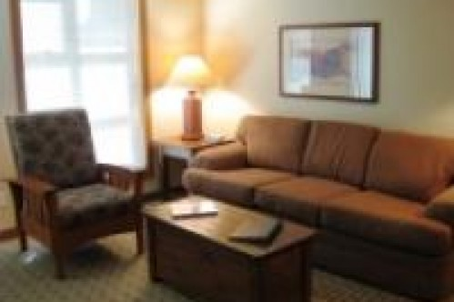 An example of the lounge of a Studio Apartment, Lost Lake Lodge, Whistler, Canada