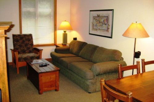 An example of the lounge of a 2 Bedroom Apartment, Lost Lake Lodge, Whistler, Canada