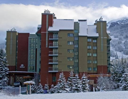 A view of the Hilton Whistler Resort and Spa in the mountains