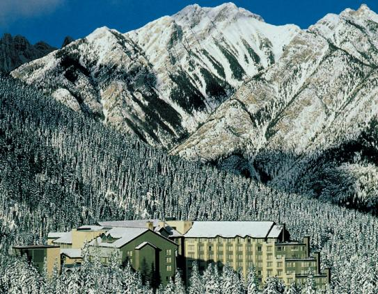 The Rimrock Resort Hotel nestled into the trees above Banff.