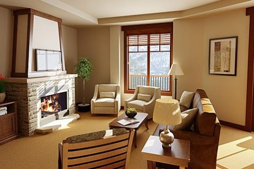An example of a lounge of a 2 Bedroom Condo at the Crystal Peak Lodge in Breckenridge