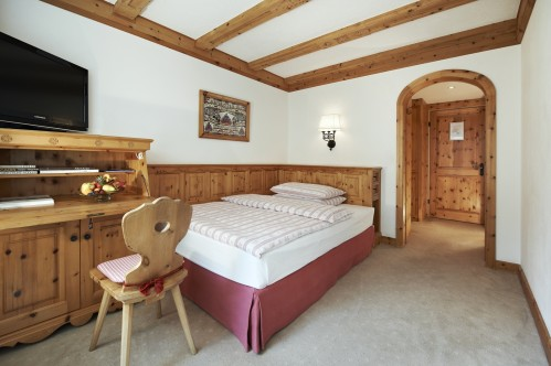 An example of a Single room at the Hotel Crystal, St Moritz