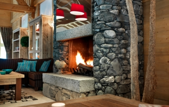 Sitting by the fire in L'Oree des Neiges, Vallandry, France