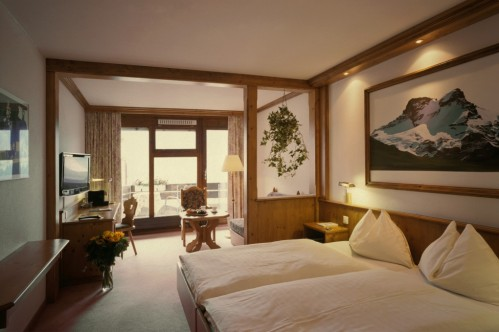 A Classic Twin Room in the Hotel Eiger in Grindelwald, Switzerland