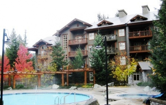 The outdoor pool in of the Lost Lake Lodge in Whistler, British Columbia, Canada