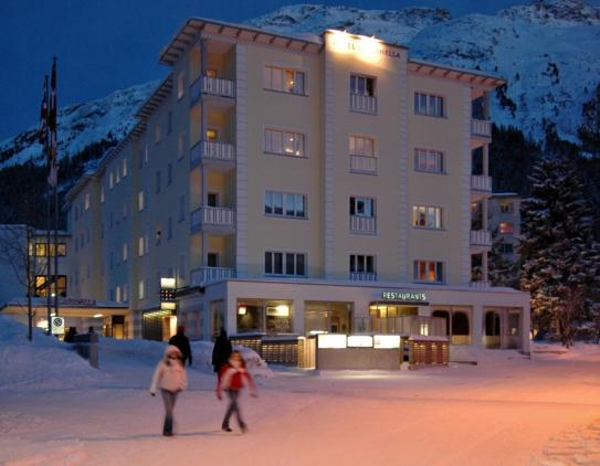 Hotel Laudinella by night in St Moritz, Switzerland