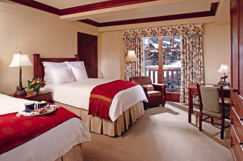 A double bedded room at the Ritz-Carlton Bachelor Gulch