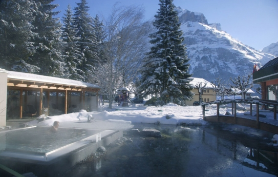 The outdoor Salt Jacuzzi in the Belvedere Swiss Q Hotel, Grindelwald, Switzerland