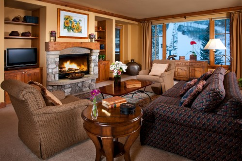 Example living room in 2 bedroom condo at Elkhorn Lodge - Beaver Creek