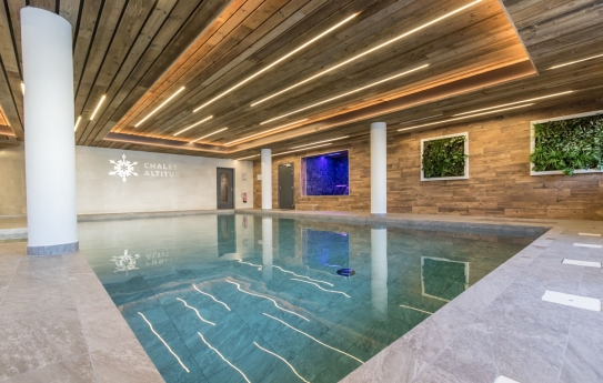 Refurbished swimming pool wellness area Chalet Altitude Arc 2000; Copyright: Raj