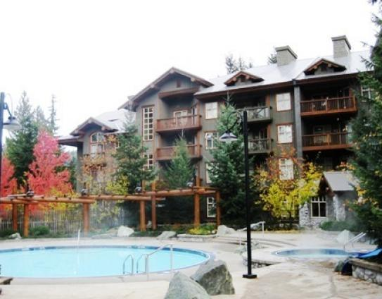 The exterior of Lost Lake Lodge, Whistler, British Columbia, Canada