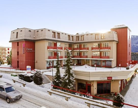 The exterior of the Mercure Classic Hotel Leysin