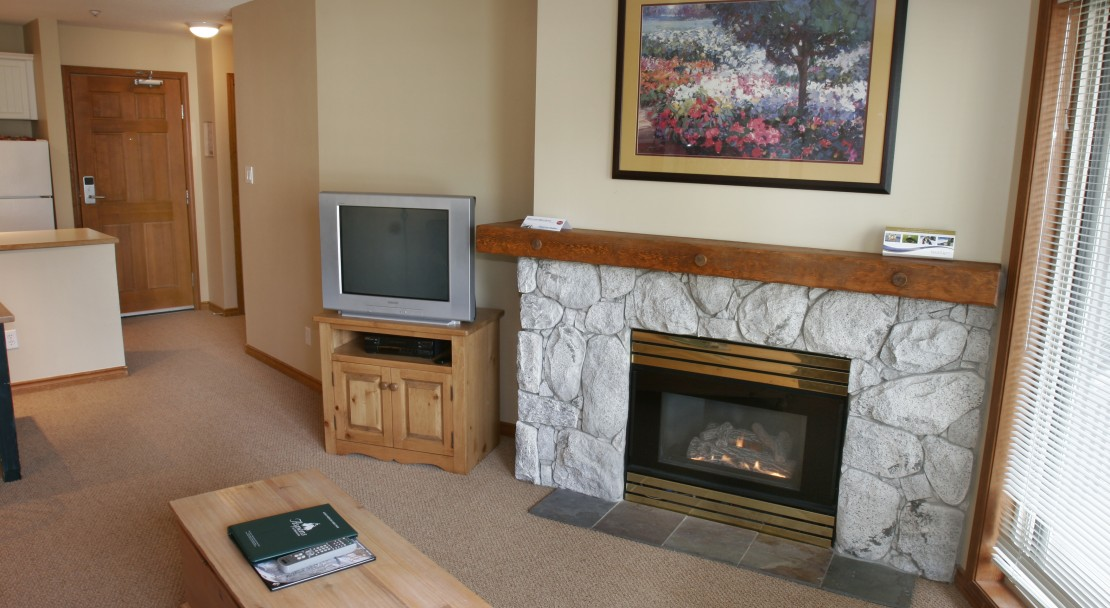 Open fireplaces in comfortable suites at The Aspens on Blackcomb in Whistler