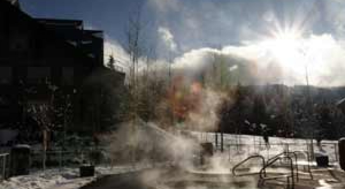 The outdoor hot tub at The Aspens on Blackcomb in Whistler