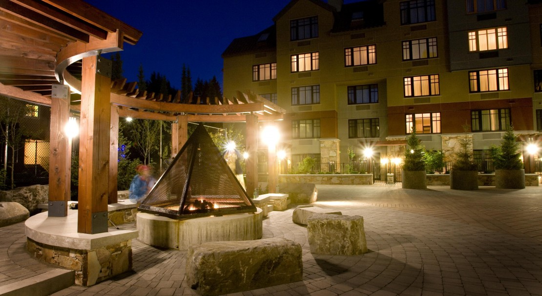The courtyard of the Hilton Whistler Resort and Spa, BC