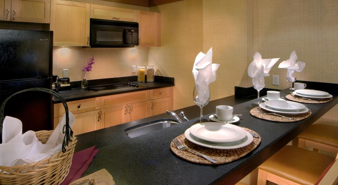 Enjoy a home cooked meal in one of the suites of the Hilton Whistler Resort and Spa, Whistler, BC