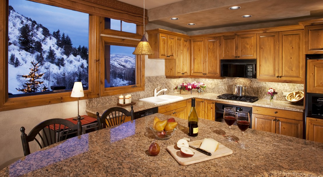 Well equipped kitchens with excellent views of the surrounding mountainside.