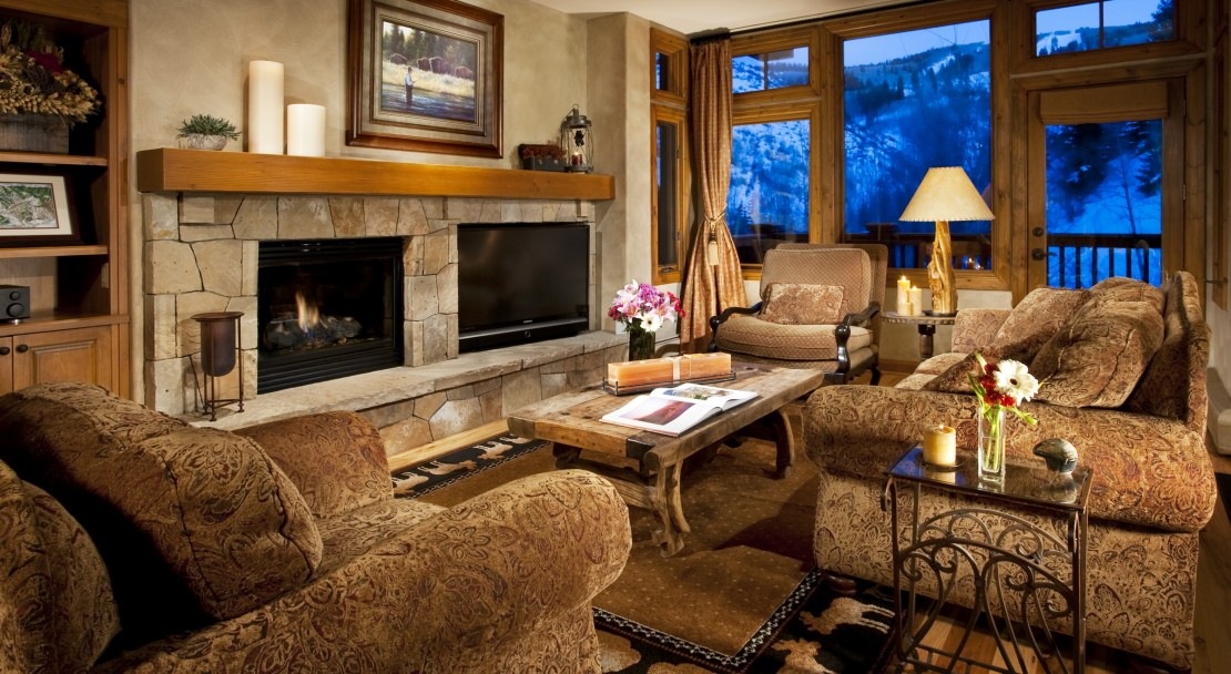 The condos at the Arrowhead Village boast comfortable rooms and open fireplaces.