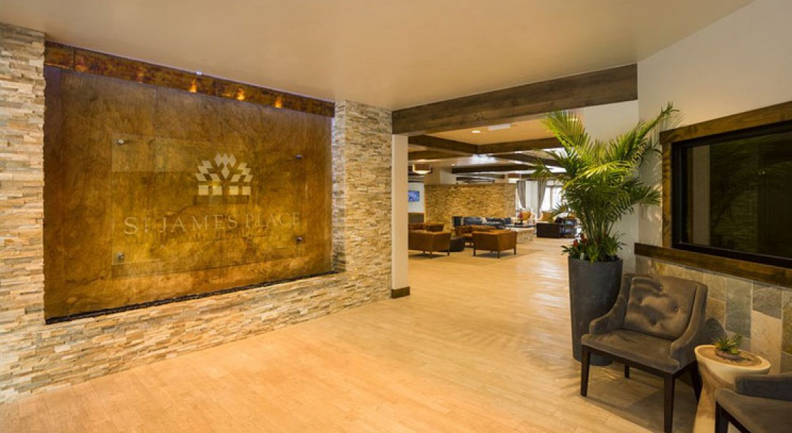 The stylish reception area at the St James Place, Beaver Creek