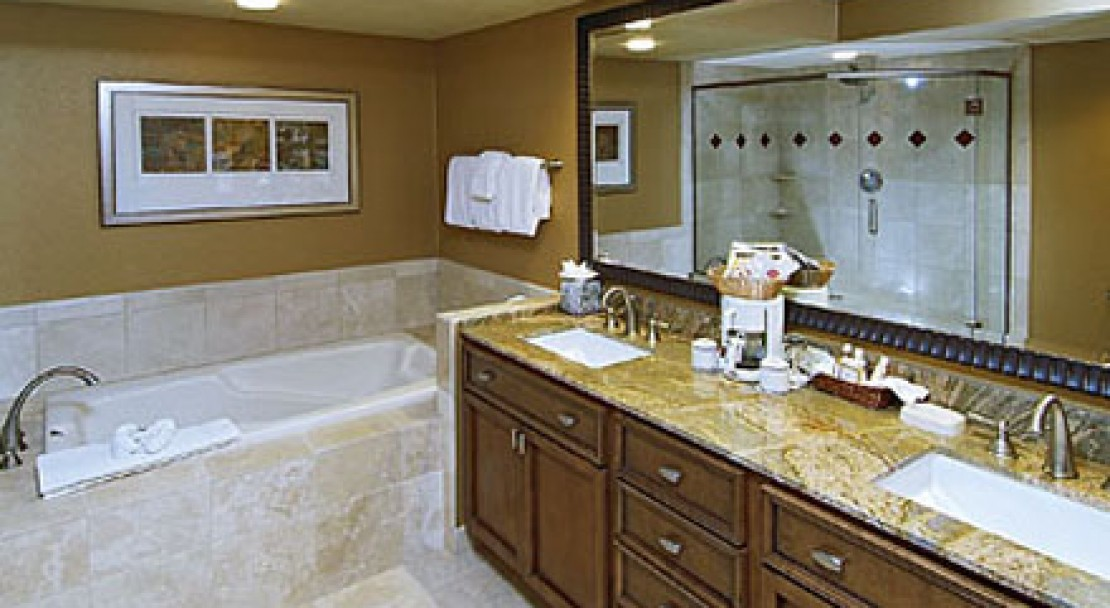 High quality marble is used in the bathrooms at St James Place, Beaver Creek