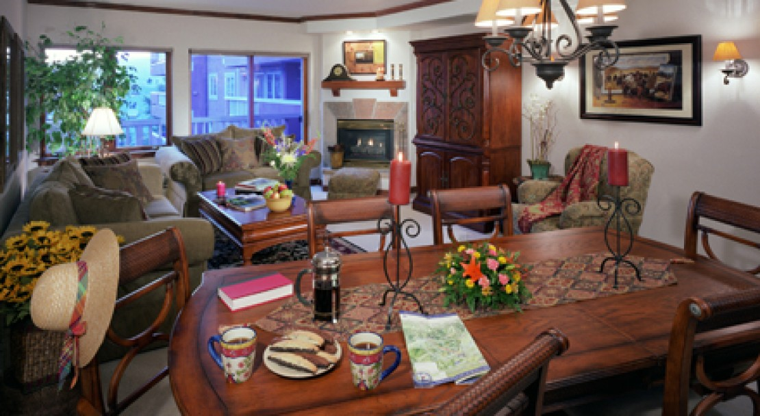 Example of the condo's living areas at St James Place, Beaver Creek