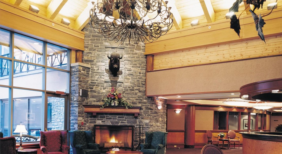 The lobby at the Delta Banff Royal Canadian Lodge