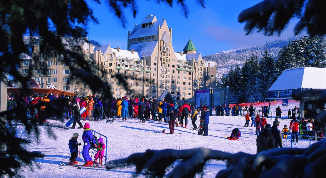 The Fairmont Chateau Whistler, ski in/ski out location at the base of the Blackcomb mountain.