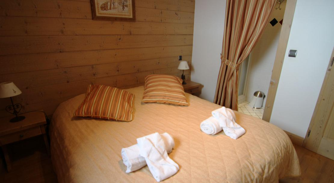A double bedroom at the Ferme du Val Claret