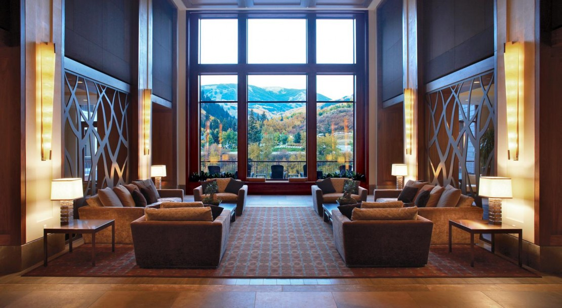 Beautiful lobby area that looks out onto the slopes of Beaver Creek