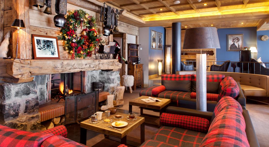 Fireplace at Hotel La Marmotte Les Gets
