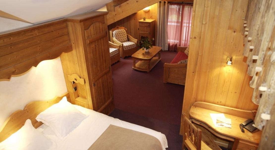 A view of the bedroom at the Chalet Philibert