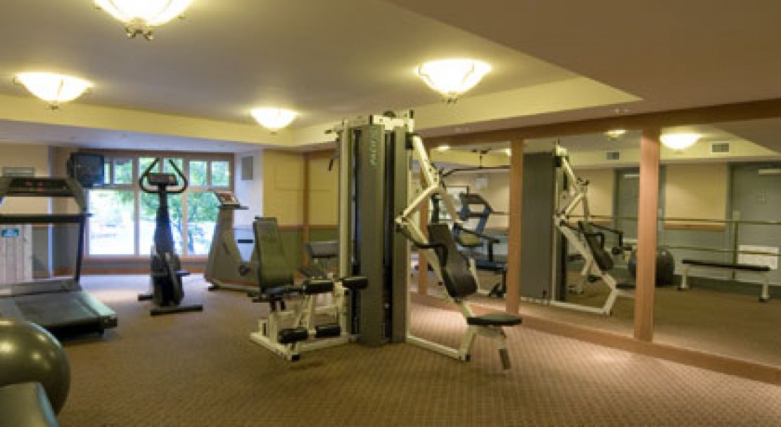 A view of the fitness room at Lost Lake Lodge, Whistler, Canada