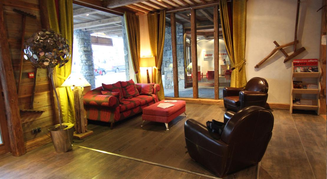 The communal sitting area at Le Nevada, Tignes.