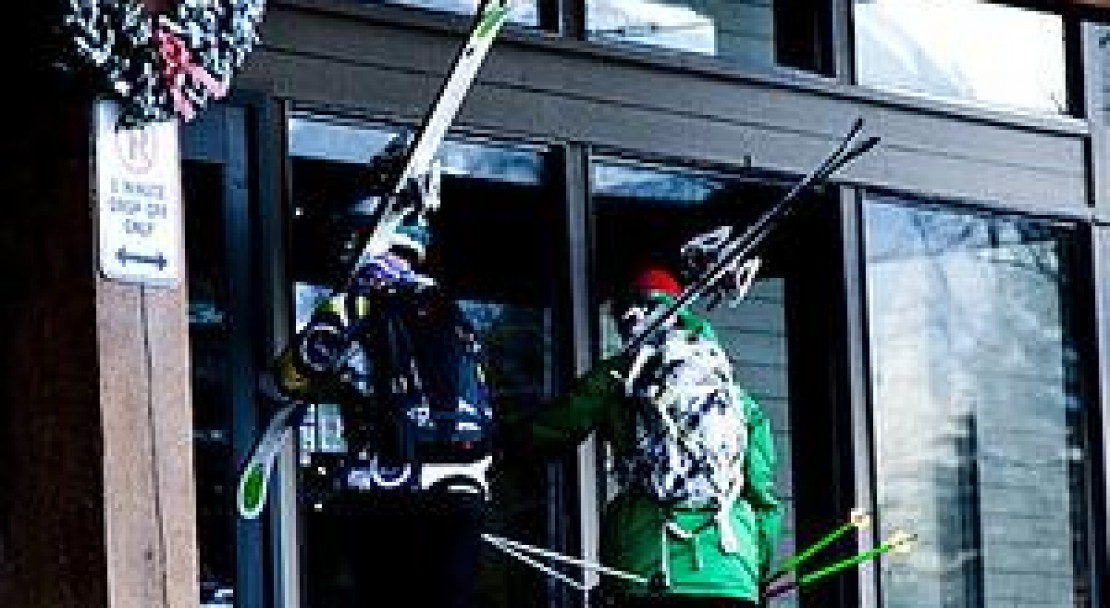 Skiiers Entering Tantalus Lodge - Whistler - Canada