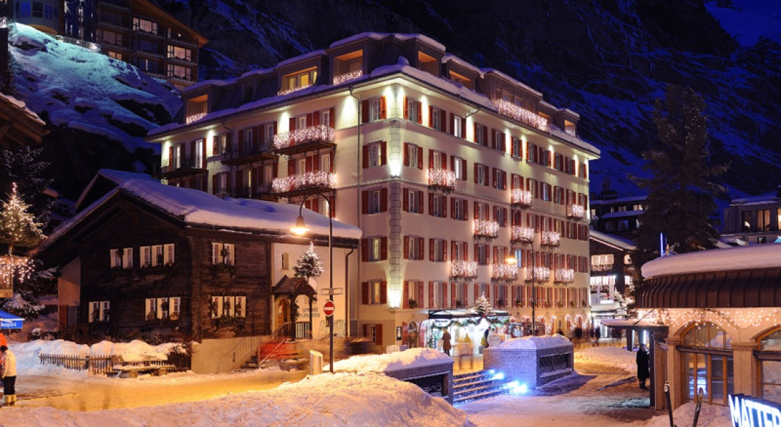 Night time of the Hotel Monte Rosa - Zermatt