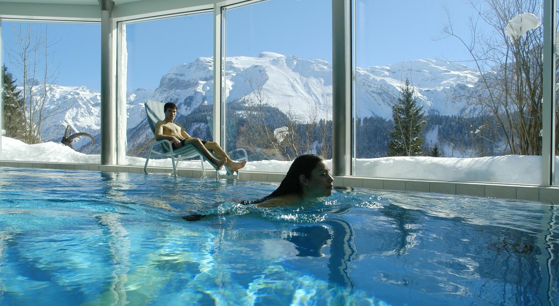 Taking a dive in the pool in the Hotel Waldegg - Engelberg