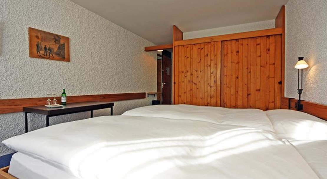 A standard room at the at the Hotel Hauser, St Moritz