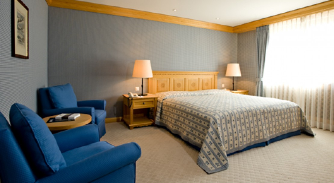 Spacious and well decorated rooms at the Hotel Crystal in St Moritz, Switzerland
