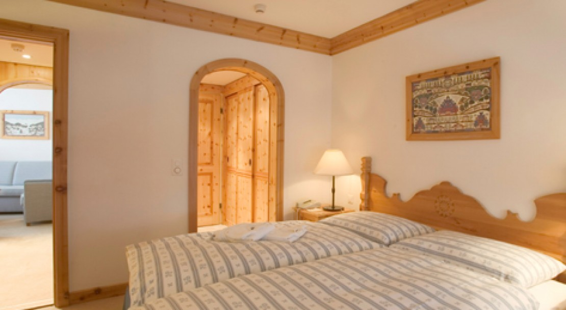 An example of a double room at the Hotel Crystal in St Moritz.