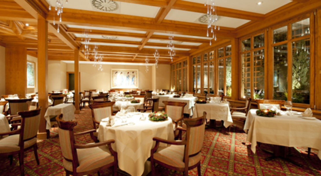 The restaurant at the Hotel Crystal in St Moritz, Switzerland