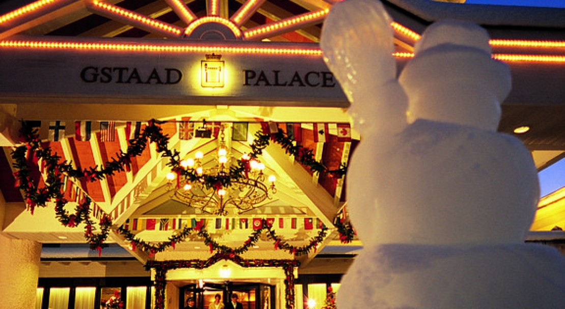 Entrance of Gstaad Palace Hotel