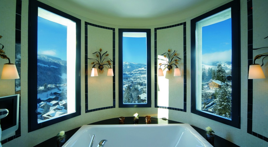 Bathroom View Deluxe Junior Suite in the Gstaad Palace Hotel