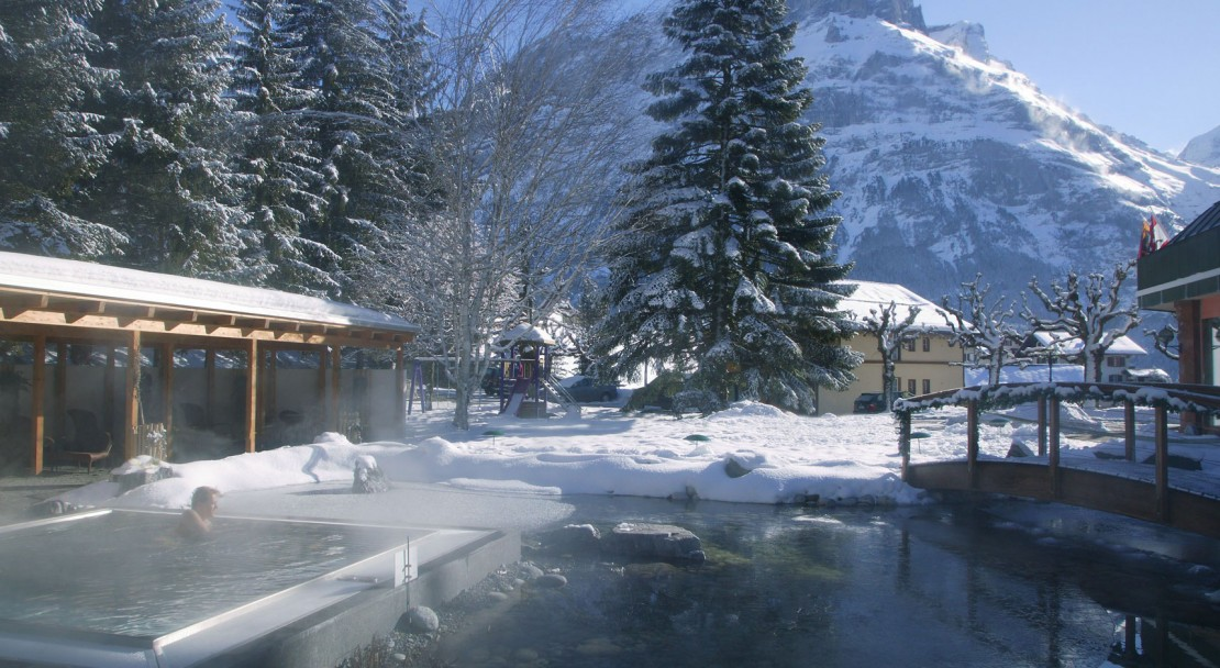 The Belvedere Swiss Q Hotel garden in winter
