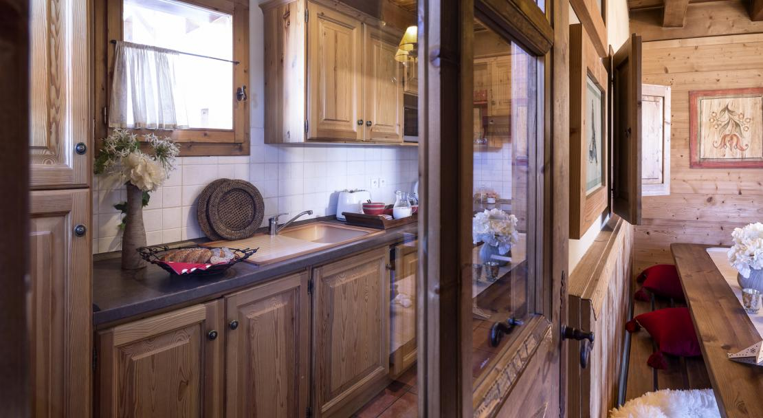 Kitchen at Chalets de la Mouria