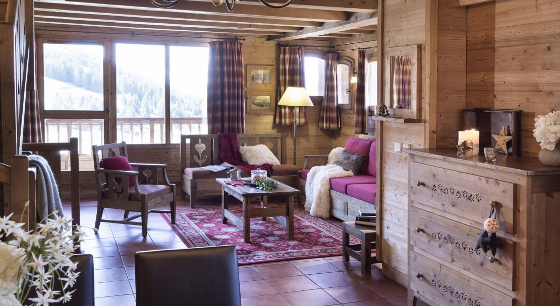 Spacious living area in Chalets de la Mouria