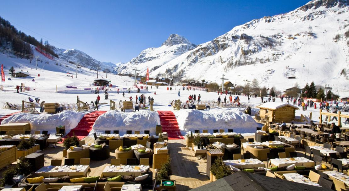 Terrace in the sun at Hotel Le Brussels Val d'Isere