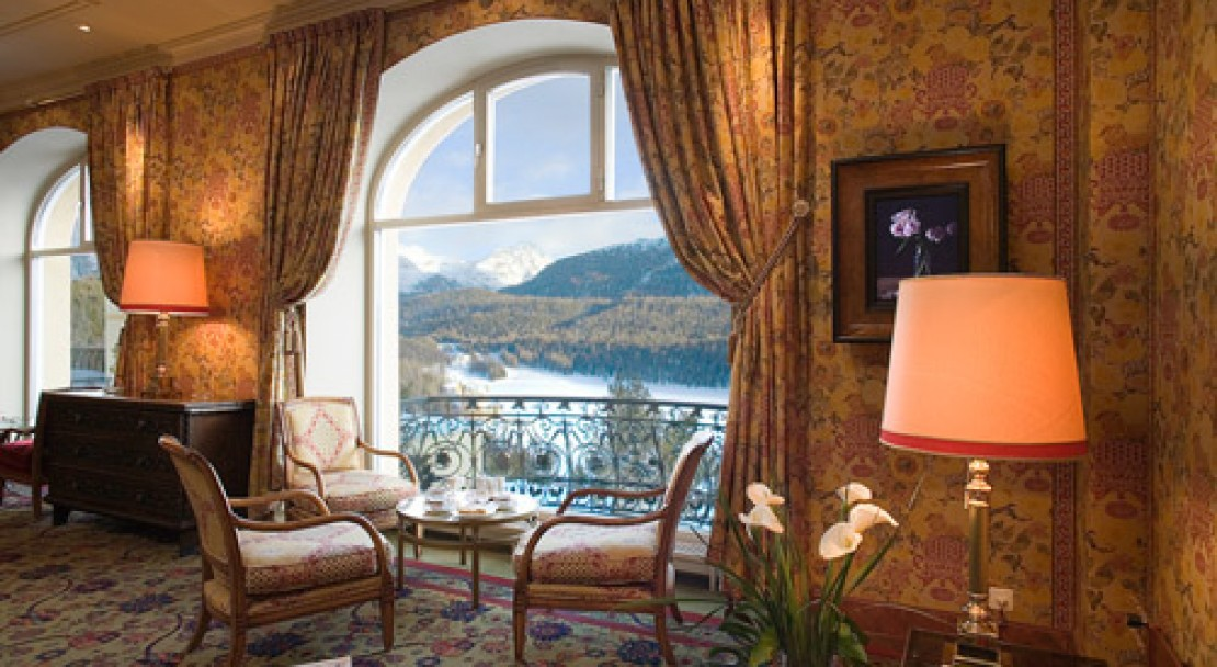 Hotel lobby at Kulm Hotel - St Moritz - Switzerland
